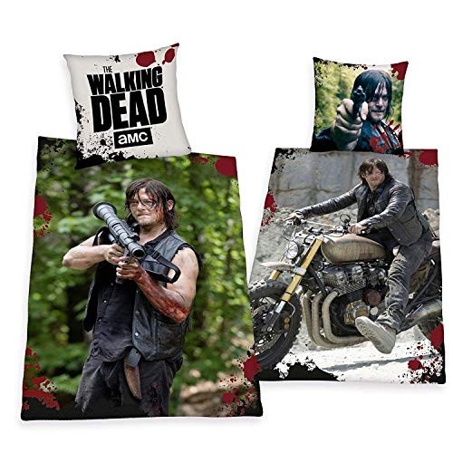 Herding – The Walking Dead Daryl Dixon - Juego completo de cama (135 x 200 cm), modelo especial – All-in-One-Outlet-24