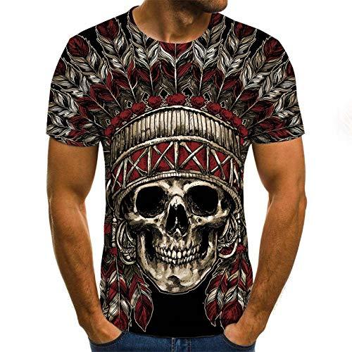 T-Shirt Herren 3D Druck Rundhals Kurzarm Shirt Schädel-T-Shirt mit indischem Hut männliches 3DT-Hemd Kurzarm Rundhals Digitaldruck lässig Kurzarm-Color_S