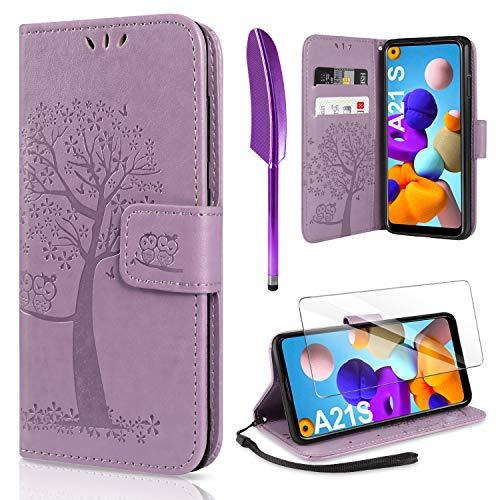 AROYI Handyhülle für Samsung Galaxy A21S Hülle + Schutzfolie,Galaxy A21S Klapphülle Hülle PU Leder Flip Wallet Schutzhülle für Samsung Galaxy A21S Tasche, Lila