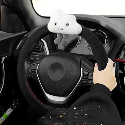 Yuzhonghua Dirección de coches de invierno cubierta de la rueda de la industria automotriz de dibujos animados nubes decoración interior cálido dirección felpa corta 38CM diámetro cubierta de la rueda