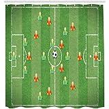 Fußball Duschvorhang Fußball Formation Torhüter Stürmer & Verteidiger Match Pattern Stoff Bad Dekor-M