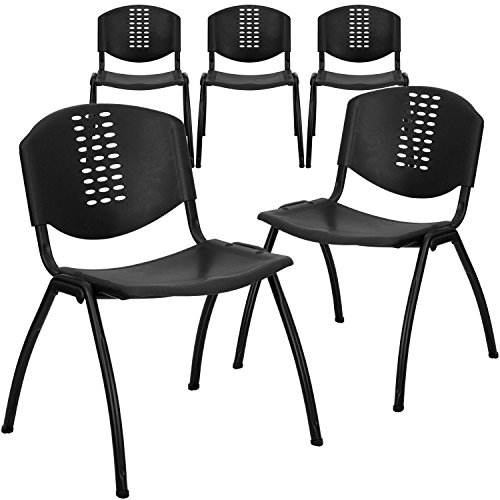 Flash Furniture 5 Pack HERCULES Series 880 lb. Capacity Black Plastic Stack Chair with Oval Cutout Back and Black Frame