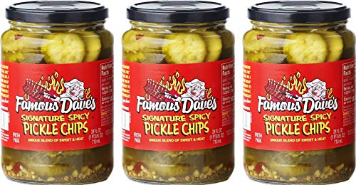 Famous Dave's Signature Spicy Pickles 24oz Glass Jar (Pack of 3) (Pickle Chips)