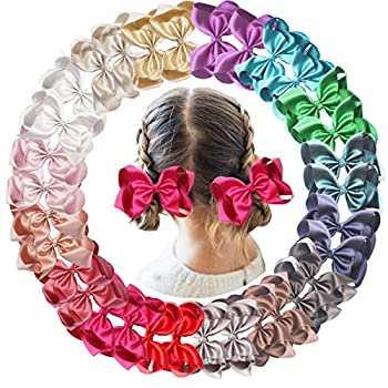 30PCS Baby Girls Hair Bows Clips Glitter Grosgrain Ribbon 4.5Inch Hair Bows Alligator Hair Clips for Girls Toddlers Kids In Pairs