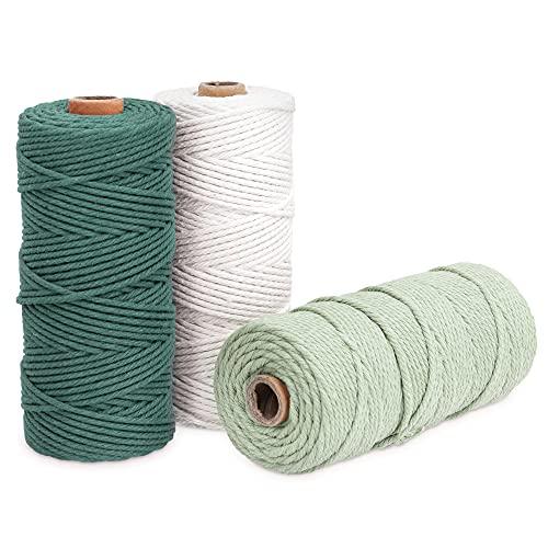 Navaris 3X Hilo de algodón para macramé - Rollos de Cuerda de 3 MM para Tejer Adornos Ganchillo...