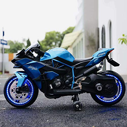 Kids Ride-On Motorcycle Children Electric Motorcycle Dirt Bike Motorcycle 12V 7A Electric Riding Toy Sporty Bike,with Flashing Wheels,LED & Music,Pedal and Training Wheels (Blue)