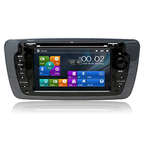 SWTNVIN Radio estéreo para Coche Compatible con Seat 2009 – 2013 7 Pulgadas en el Tablero GPS Navigator Unidad de Cabezal Doble DIN Soporte USB SD FM Am RDS Video Bluetooth SWC DVD CD Player