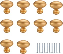 Apiosa 10 Pack Simple Oval Kitchen Cabinet Knobs, Solid Gold Brushed Dresser Drawer Knob Pulls, Closet Door knobs, 1.2 Inch Diameter, Polished Finish, Gold