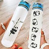 Tentenentent Motivierend dulce Panda Sportwasserflasche con Tragegurt - Panda Rolling Marker Sportwasserflasche adecuado para Fitnessstudio & Outdoor white3 1000 ml