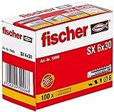 fischer - Tacos pared para hormigón SX 6x30 para fijar lámparas, cuadros, Caja tacos 100 uds