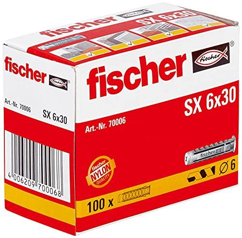 fischer Spreizdübel SX 6 x 30, Schachtel mit 100 Nylondübeln, Dübel für optimalen Halt bei Befestigungen in Beton, Hochlochziegel, Porenbeton, Vollziegel uvm.