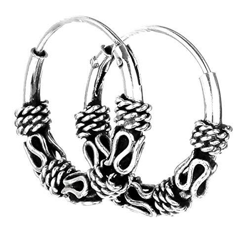 WINDALF Handmade Fine Viking Hoop Earrings Amika Diameter 1.2 cm Ornamental Bohemia Earrings Vintage 925 Sterling Silver