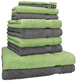 [page_title]-Betz 10-TLG. Handtuch-Set Premium 100% Baumwolle 2 Duschtücher 4 Handtücher 2 Gästetücher 2 Waschhandschuhe Farbe Anthrazit Grau & Apfel Grün