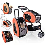 5-in-1 Pet Carrier with Backpack, Pet Carrier Stroller, Shoulder Strap, Carriers with Wheels for Dogs and Cats - Orange