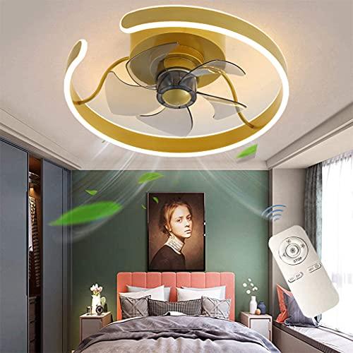 Moderna LED Regulable Lámpara De Techo Ventiladores de Techoo con Mando a Distancia, Plafon de Techo de Circular Iluminación De Decoración Interiores para salón, 3 velocidades, Silencioso Ø45CM
