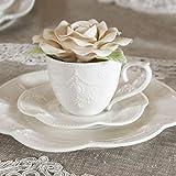 Set 6 Tazze da tè con piattino Porcellana Shabby Chic Colore Bianco