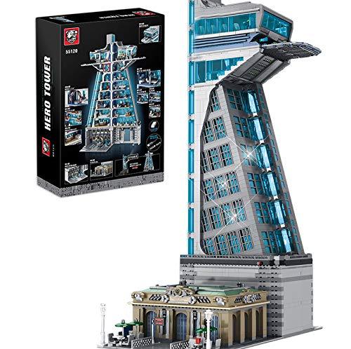 Sunery Modular Haus Bausteine, 5883 Teilen Hero Tower Architektur Bausteine Bausatz mit LED-Licht, Tiger 55120 Wolkenkratzer, Custom Architektur Klemmbaustein Kompatibel mit Lego Marvel Avengers