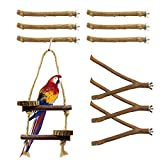 10 Pack Bird Perch Stand Perch Natural Wood Rod Bird Toys Swing Tools Cage Accessories Exercise Toys Claw Grinding Sticks Multi functional Bird Supplies Wood Fork Perch Rod Stand for Parrot Canary