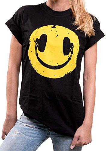 MAKAYA Oversize Hip Hop Top Manga Corta - Sonrisa Auriculares - Camiseta Hipster Smile Mujer Negro S