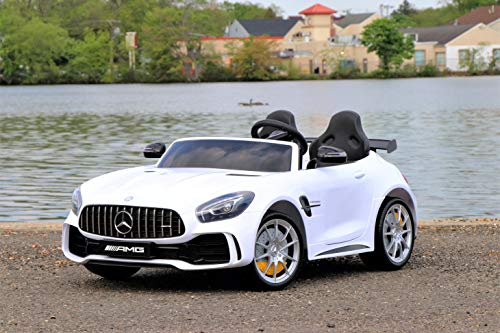 First Drive Mercedes Benz GTR White 2 Seater - 12v Kids Cars - Dual Motor Electric Power Ride On Car with Remote, MP3, Aux Cord, Led Headlights and Rear Lights, and Premium Wheels