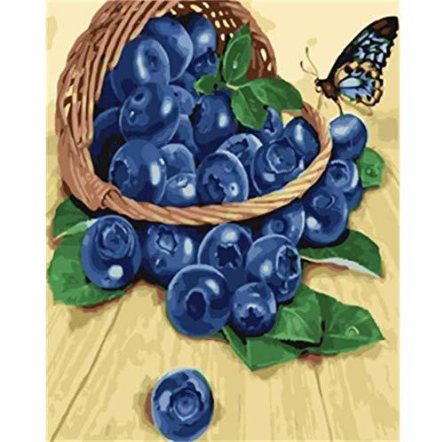 Blueberry Butterfly - Kit de peinture de diamants - Peinture de diamant pour les enfants adultes bricolage Accueil Point de croix Décoration Foret rond