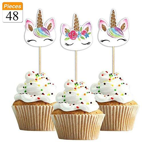 48-pack Rainbow Unicorn cupcake topper Picks, doppio Unicorn cake topper for birthday Baby Shower party Decorations Supplies