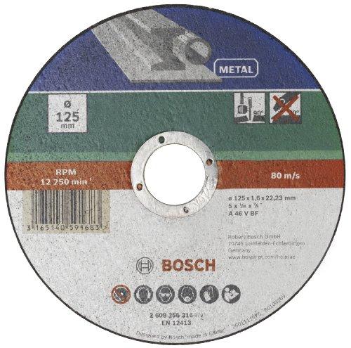 Bosch Mola Taglio Dritta, Metallo 125 x 22.23 x 1.6 mm