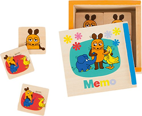 Small Foot Design 10491 Sendung Memo-Spiel aus Holz mit verschiedenen Motiven aus Der Maus in praktischer Schiebebox, als Reisespiel geeignet