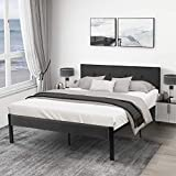 Yokstore Queen Bed Frame with Upholstered Headboard, 16.5 Inch Metal Platform Bed, Sturdy IronSlat Support, Under-Bed Storage, No Box Spring Needed, Easy Assembly, Noise-Free, Grey