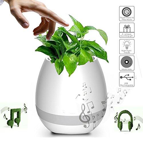 HMILYDYK Smart Touch Muziek Bloempot Bluetooth Draadloze Speaker Piano Muziek Spelen Plant Bloempot Multi-color LED Licht Ronde Plant Pots voor Office Home Decor