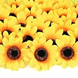 Mocoosy 100Pcs Artificial Sunflower Heads 2.8' - Yellow Small Silk Sun Flowers Bulk for Wedding Home Garden Party Decoration Fake Flower Crafts Accessories DIY Decor