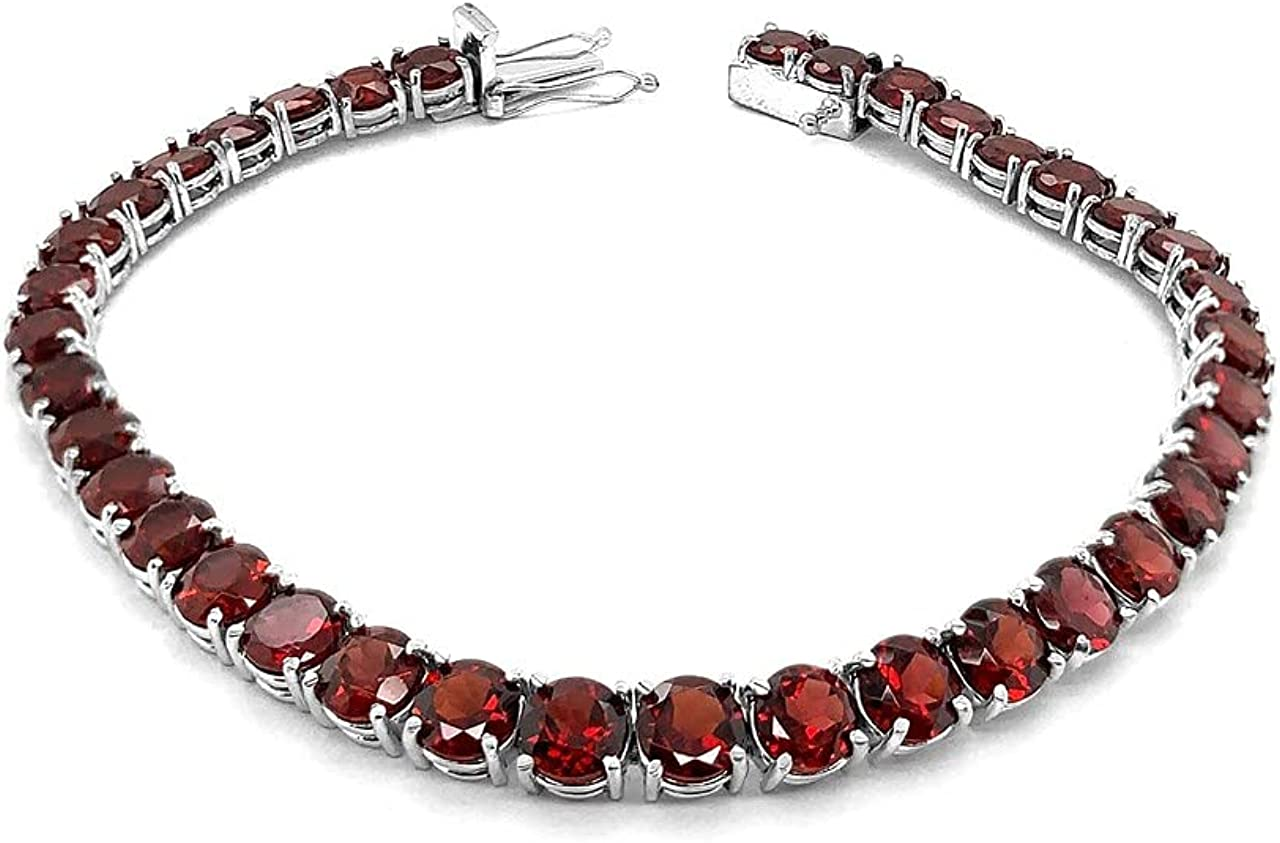 RHODIUM-PLATED STERLING SILVER GENUINE GARNET TENNIS FANCY BRACE Animer and Purchase price revision