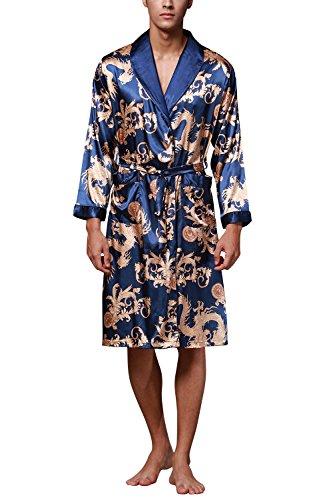 Dolamen Accappatoio per Uomo, Vestaglia da Notte Kimono Raso Pigiama Sleepwear, Robe Accappatoio Pigiama da Uomo con Cintura e Tasche (XX-Large, Blu)
