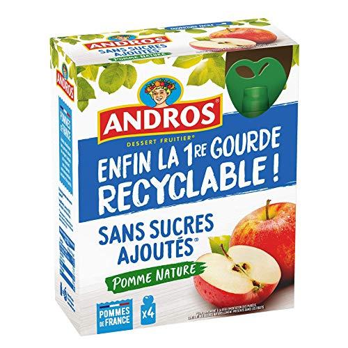 ANDROS - Compote de Fruit - Gourde Recyclable - Sans Sucres Ajoutés - Goût Pomme - Idéal pour le Goûter des Enfants et des Bébés - Lot de 4