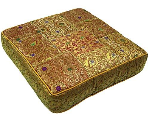 Guru-Shop Orientalisches Eckiges Patchwork Kissen 40 cm, Sitzkissen, Bodenkissen mit Baumwollfüllung - Gold, Synthetisch, Zierkissen, Dekokissen, Sofakissen