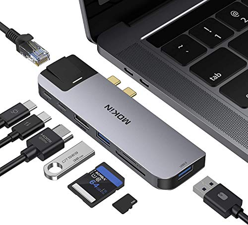 USB C Hub Adapter for MacBook Pro 2020/2019/2018,MacBook Air 2020/2019/2018, MOKiN 8 in 2 USB C to Ethernet Dongle Adapter with 4k HDMI, 2 USB, TF/SD Card Reader, USB-C 100W PD and Thunderbolt 3