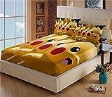 Cache Sommier 180x200 - Drap Housse Pokémon Pikachu - Microfibre - Impression numérique 3D - Housse Poche Profonde 30cm - Résistant Rides - avec Taies d'oreiller(#2,180 * 200cm + 65 * 65cm × 2)