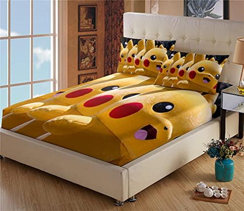 Cache Sommier 180x200 - Drap Housse Pokémon Pikachu - Microfibre - Impression numérique 3D - Housse Poche Profonde 30cm - Résistant Rides - avec Taies d oreiller(#2,180 * 200cm + 65 * 65cm × 2)