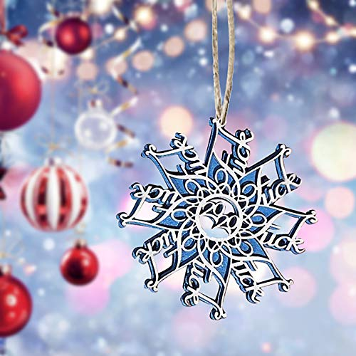 GuangYuan Cussing Snowflake 2020 Christmas Snowflake Ornament, Acrylic and Wood,Adult Theme Christmas Ornament, Mature Content idea 3.7 Inch Rustic Country Style (1 PC, Blue)