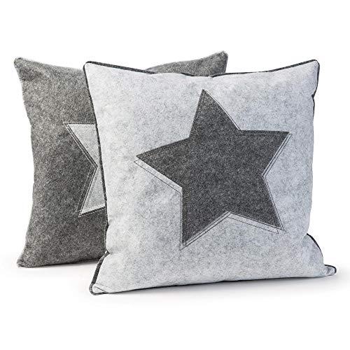 luxdag Kissenbezug/Zierkissenhülle 'Stern' aus Filz (2er Set), hellgrau & grau   Bezug mit Reißverschluss für 40x40 cm Kissen