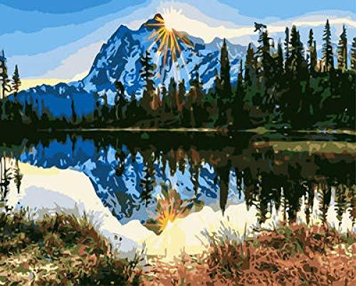 Kits de pintura para bricolaje por números Reflexión de la montaña de nieve pintura al óleo, dibujo, pinturas acrílicas, lienzo con 3 pinceles -20 x 16 pulgadas