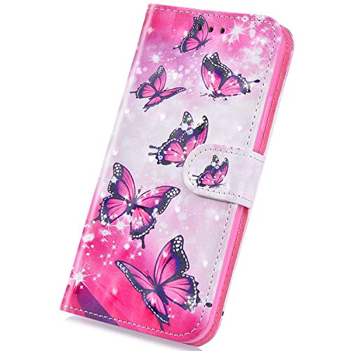 Surakey Funda para Samsung Galaxy J1 2016, funda estilo cartera para teléfono móvil de piel sintética de poliuretano con purpurina, diseño 3D, con función atril, tarjetero, color rosa y mariposa