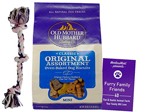 Old Mother Hubbard Classic Original Assortment Dog Treats - Mini Sized Snacks (20 Ounces) - Plus Rope Toy and Fun Animal Facts Booklet Bundle