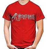Stuttgart Ehre & Stolz Männer und Herren T-Shirt | Fussball Ultras Geschenk | M1 FB (Rot, XL)