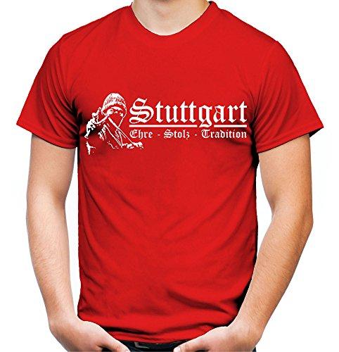 Stuttgart Ehre & Stolz Männer und Herren T-Shirt | Fussball Ultras Geschenk | M1 FB (Rot, M)