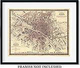 Antique Paris map Art Print 1860 Joseph Meyer - 11 x 14 Unframed Art Print - Great Vintage Home Decor for Paris lovers