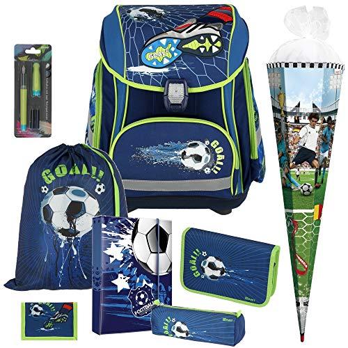 Football Goal - Fußball Soccer - Spirit SMART LED-Leicht-Schulranzen-Set mit BLINKENDEM Schloss 8-teilig mit SCHULTÜTE - SCHREIBFÜLLER und HEFTBOX GRATIS DAZU