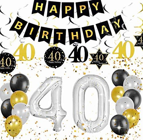 Ensemble de 18 décorations de fête d'anniversaire JeVenis 40e cheers à 40 ans bannière 40e anniversaire bannière 40 fournitures de fête d'anniversaire