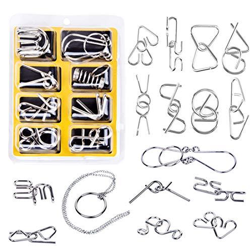 LOSGO Adventskalender 24 St. Knobelspiele Metall Rätsel Spielzeug 3D-Puzzle Spiele Set Interessanter Zeitvertreib Kleines Geschenk für ältere Kinder, Jugendliche, Erwachsene