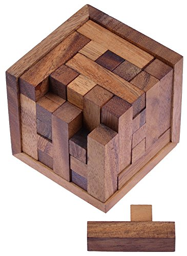 LOGOPLAY Packwürfel 125er Cube S - 3D Puzzle - Denkspiel - Knobelspiel - Geduldspiel - Logikspiel im Holzrahmen